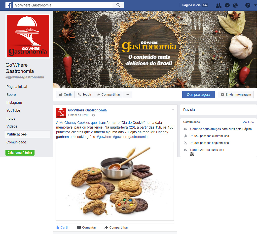 Facebook Revista Go Where Gastronomia